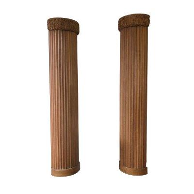 Colonne a metà in legno scanalato, inizio XX secolo, set di 2 in ...