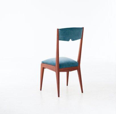 Mid Century Italian Light Blue Velvet Mahogany Dining Chairs 1950s Set Of 6