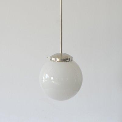 Bauhaus Opal Gl Sphere Ceiling Light 1940s