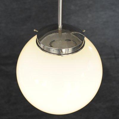 Bauhaus Opal Glass Sphere Ceiling Light, 1940s