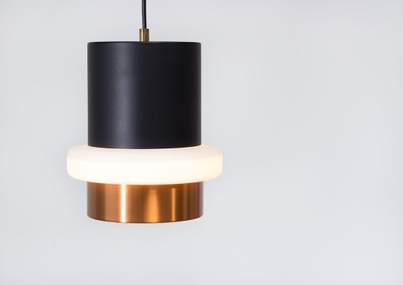 Modernist Black And Brass Pendant Lamp 1960s