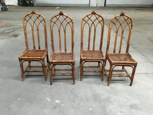 Italian Bamboo Chairs 1960s Set Of 4 For Sale At Pamono