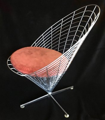 Vintage K2 Wire Cone Chair by Verner Panton for Plus Linje, 1950s