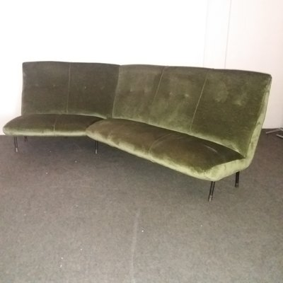 Vintage Italian Velvet Corner Sofa