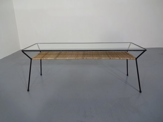 Outstanding Italian Rattan Glass Coffee Table 1950S Interior Design Ideas Clesiryabchikinfo