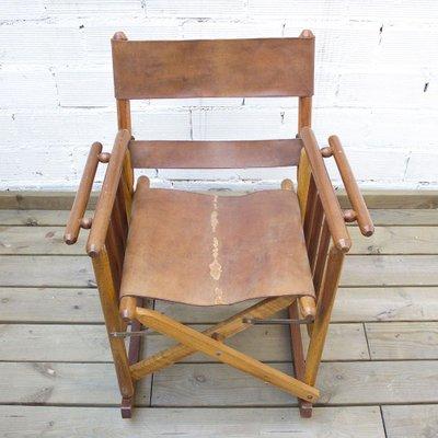 Schaukelstuhl Mit Sitzbezug Aus Leder 1970er Bei Pamono Kaufen