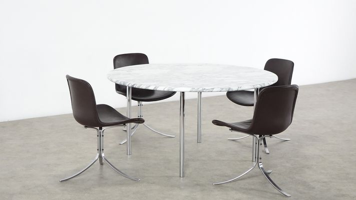 Carrara Marble Dining Table By Estelle Erwin Laverne For Laverne