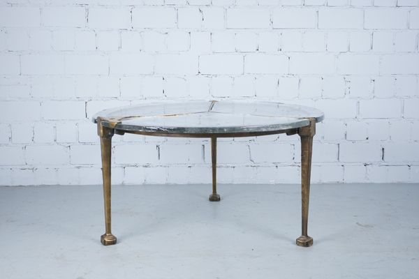 255083bf58968 Bronze   Glass Sculptural Coffee Table by Lothar Klute