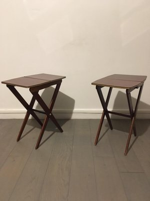 Small Teak U0026 Formica Folding Side Tables, 1950s, Set Of 2 15