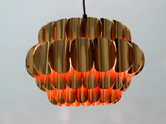 Large Vintage Copper Pendant Lamp From Temde 2