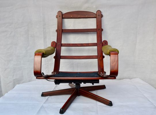Vintage Mahogany U0026 Green Leather Rocking Recliner Chair From Göte Möbler 15