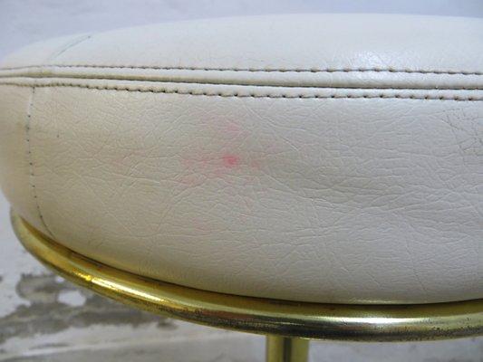 Sgabelli da bar vintage in pelle con piedi in metallo placcato in