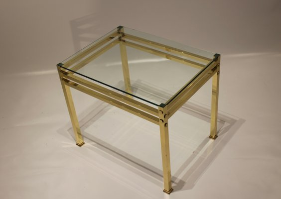 Tavolino Cristallo Ottone.Tavolini In Ottone E Vetro Anni 60 Set Di 2