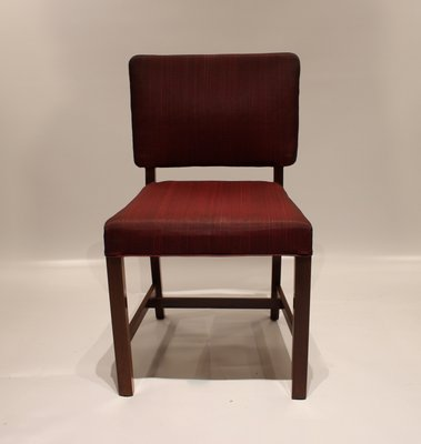 Mahogany Red Fabric Dining Chairs From Fritz Hansen 1930s