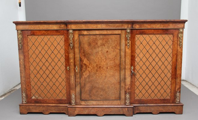 Burr Walnut Breakfront Cabinet 1860s 1