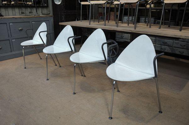 Sedie Bianche E Legno : Sedie impilabili in metallo e legno laccato bianco di sope finland