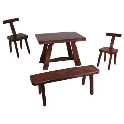 Set De Table Chaises Et Banc Modèle T Par Olavi Hänninen Pour
