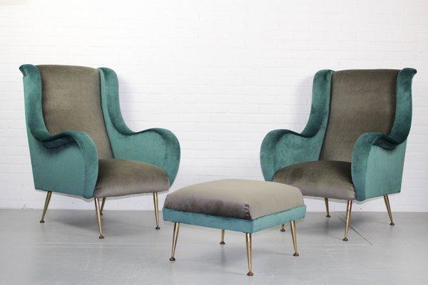 Fabulous French Modernist Armchairs Ottoman 1950S Lamtechconsult Wood Chair Design Ideas Lamtechconsultcom
