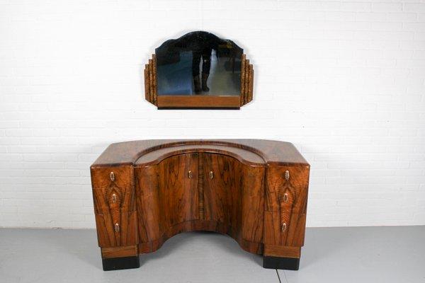 free shipping 73ad0 140da Art Deco Walnut Dressing Table & Mirror, 1940s