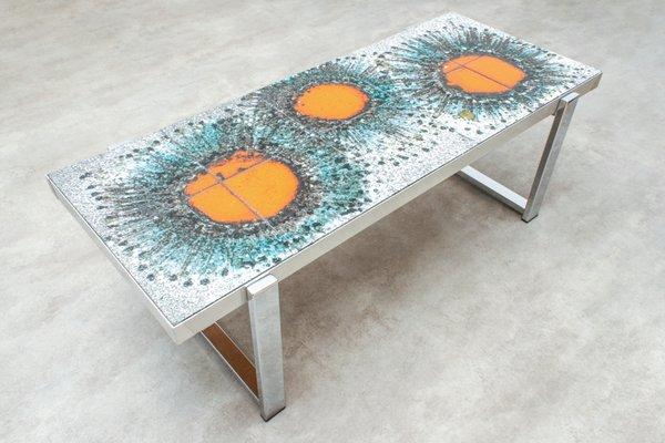Tavolino da caffè con mattonelle in ceramica anni in vendita