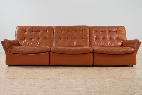 Sectional Leather Lounge Sofa, 1970s