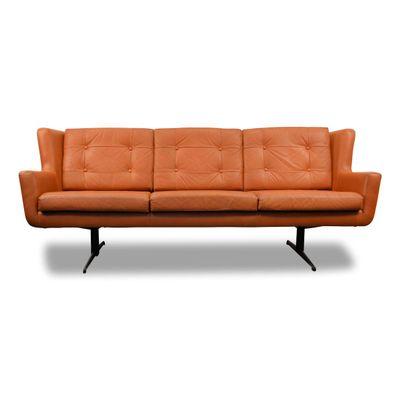 Vintage Danish Leather 3-Seater Sofa from Skjold & Sørensen for sale ...
