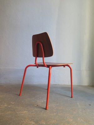 Chaise DEnfants Vintage En Bois Metal Orange 2
