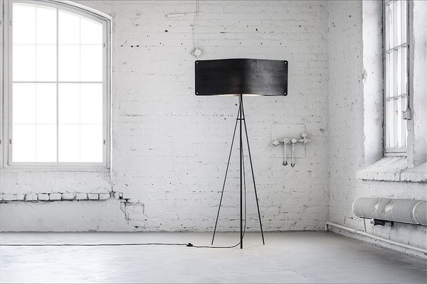 Wide Black Floor Lamp By Esa Vesmanen