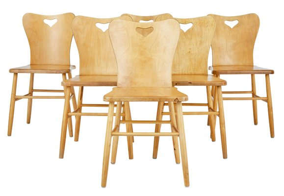 Mid Century Scandinavian Pine Dining Chairs Set Of 6 1