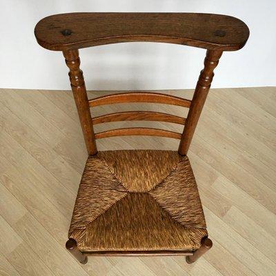 Marvelous Antique Dutch Prayer Oak Chair With Wicker Seat 1900S Machost Co Dining Chair Design Ideas Machostcouk