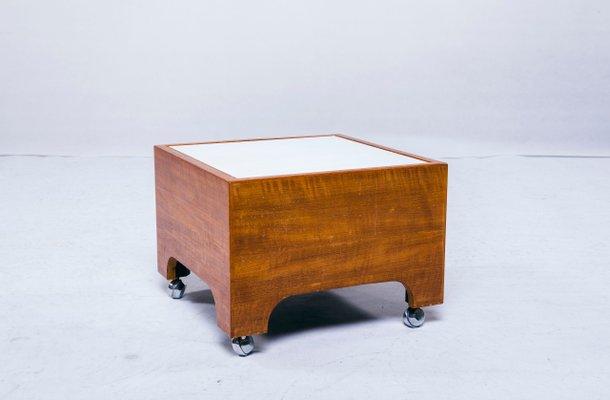 Side Table Teak.Vintage Teak Side Table On Casters