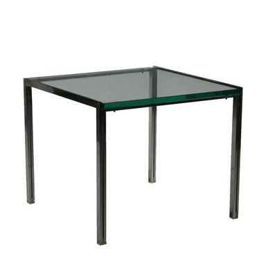 Tavolino da caffè vintage in vetro e acciaio di Ross Littell per ICF, anni  \'60