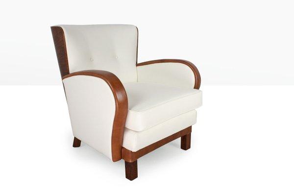 Poltrone Art Deco Anni 30.Poltrona Art Deco In Pelle Olmo E Feltro Anni 30