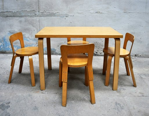 Dining Table & 4 Chairs by Alvar Aalto for Artek, 1960s