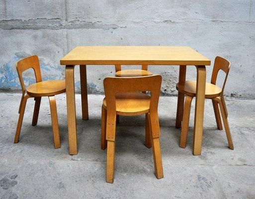 Tavolo da pranzo con quattro sedie di Alvar Aalto per Artek, anni '60