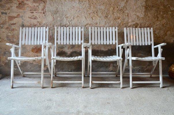 Poltrone da giardino vintage in legno set di in vendita su pamono