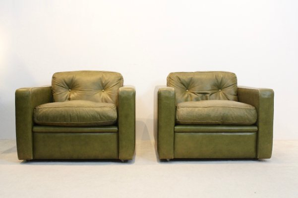 Italian Olive Green Leather Lounge Chairs From Poltrona Frau, 1970s, Set Of  2 1
