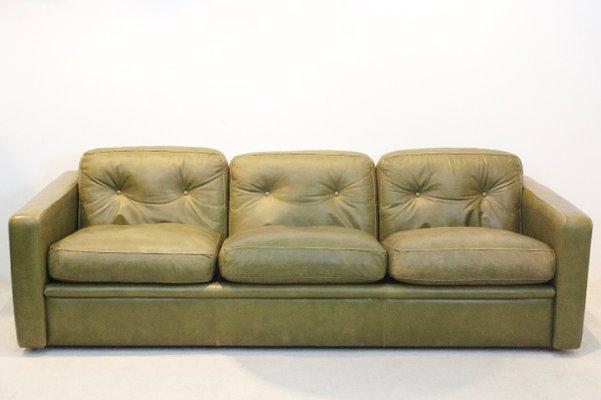 Divano a tre posti in pelle verde oliva di Poltrona Frau, anni \'70 ...