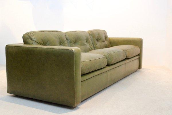Poltrona Sofa.Olive Green Leather Three Seat Sofa From Poltrona Frau 1970s For