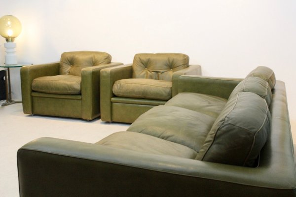 Italian Olive Green Leather Living Room Set from Poltrona Frau, 1970s