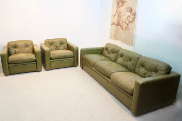 Italian Olive Green Leather Living Room Set From Poltrona Frau 1970s 1