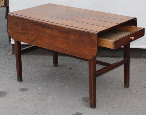 Delicieux Antique Oak Drop Leaf Table With Drawer, 1880s 2