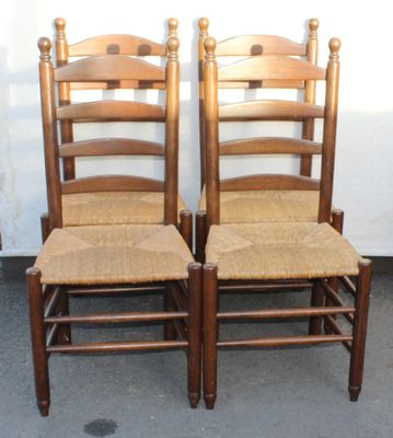 Vintage Oak Ladderback Dining Chairs 1920s Set Of 4 For Sale At Pamono