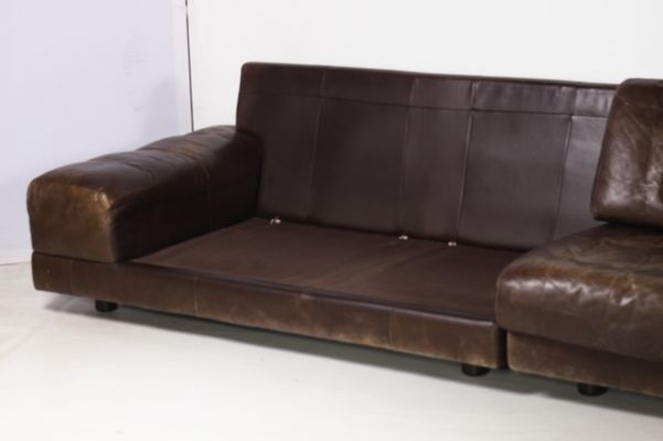 Large Vintage German Modular Leather Sofa from Dreipunkt, 1970s for ...