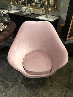 Superb Mid Century Modern Italian Pink Velvet Brass Armchair 1950S Dailytribune Chair Design For Home Dailytribuneorg