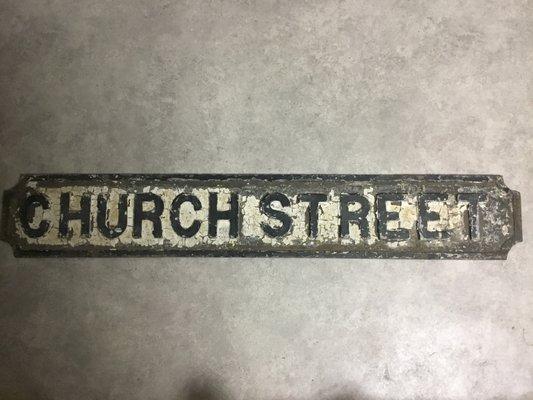 Antique Cast Iron Church Street Sign