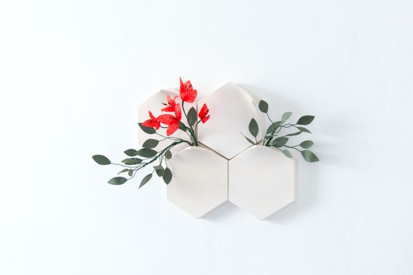 Teumsae Wall Vases in Pure White with Handmade Flowers by Extra&ordinary Design, ...