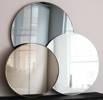 Extra Large Silver Orbis Round, Extra Large Wall Mounted Swivel Mirror