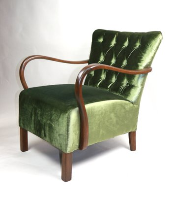 Vintage Green Velvet Chesterfield Armchair For Sale At Pamono