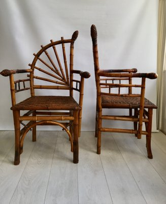 Vintage French Bamboo Chairs 1920s Set Of 2